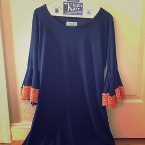 Dress with bell sleeve